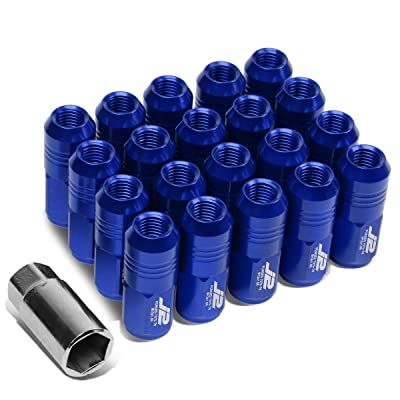 J2 Engineering LN-T7-007-15-BL Blue 7075 Aluminum M12X1.5 20Pcs L: 50mm Close End Lug Nut w/Socket Adapter: Automotive