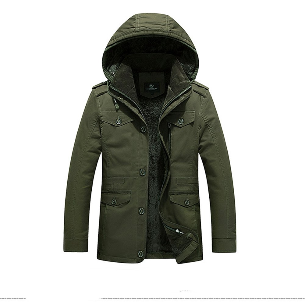 Srilemes Men's Casual Long Sleeve Outdoor Comfortable Cotton Casual Jacket With Fur Army Green 3XL