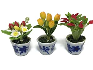3pc Miniature Flower Clay Dollhouse Fairy Garden Mini Plant Trees Ceramic Paint Furniture Bundles Artificial Flowers Tiny Orchid #087