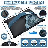 WAKE BALLAST Steel Shot Bag (50 Lb) Wakesurf Boats, Makes The Best Waves Wake Surfing, Wakeboard, Uses Non-Toxic Pellets, Made Durable 1000D Cordura Nylon, 3 Year Warranty, Made in USA