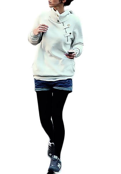 Mujer Sudaderas con Capucha Elegantes Deportivas Hoodies Invierno Otoño Vintage Basic Ropa Manga Larga con Cremallera Botones Color Sólido Sweatshirts ...
