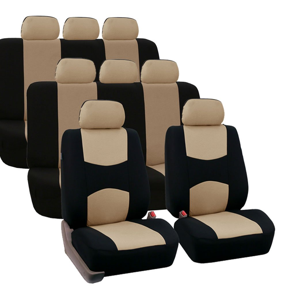 FH GROUP FB051128 Three- Row Multifunctional Flat Cloth Car Seat Covers or Van Airbag Compatible and Split Bench Solid Black Fit Most Car Truck Suv