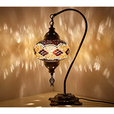 (18 Variations) Newest CopperBull 2018 Turkish Moroccan Tiffany Style Handmade Mosaic Table Desk Bedside Night Swan Neck Lamp Light Lampshade, 42cm (9)