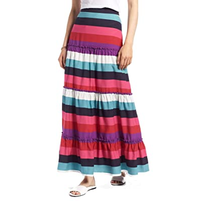 1901 Tiered Stripe Maxi Skirt for Women in Pink, 14 at Women's Clothing store