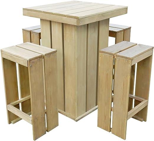 tidyard Conjunto de Mesa y Sillas de Bar 5 pzas Conjunto de Comedor para Jardín Terraza Patio,Estilo Rústico,Madera Pino Impregnada: Amazon.es: Hogar