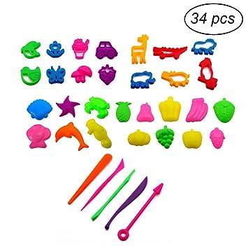 TOYMYTOY Kit de herramientas de masa de arcilla 34pcs con modelos y juguete de desarrollo educativo del molde del regalo del favor para los niños de los ...