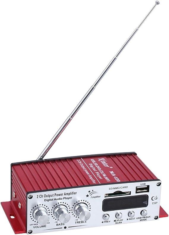 Kinter Mini Amplificatore Stereo per Auto 2 CANALI Radio FM Porta USB SD MA-120