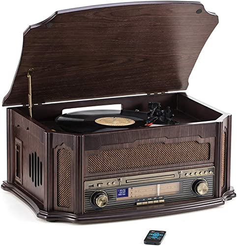 Rcm Classic Wooden Record Player with 3-Speed Vinyl Turntable, Wireless Connection, CD Player, FM Radio, Cassette Player, USB Play Encoding, RCA Output, Include Remote Control MC-268
