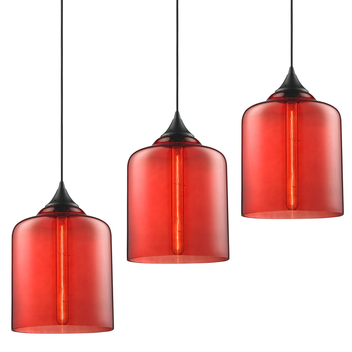 3-Pack Modern Industrial Vintage Glass Globe Pendant Light - MKLOT Minimalist Eco-Power Edison Style 7.09'' Wide Hanging Chandelier Ceiling Lighting Mounted Fixture with Red Glass