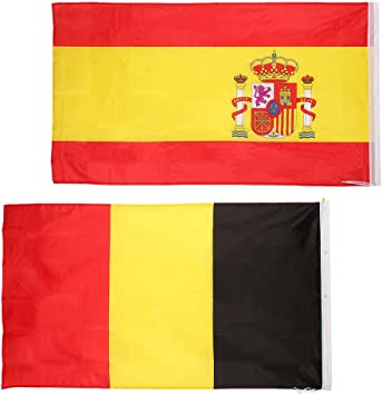 2 Unids Banderas de Nación de España + Bélgica Adornos de Festival para Colgar 90x150cm: Amazon.es: Juguetes y juegos
