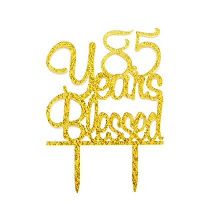 Amazon FirefairyTM 85 Years Blessed Acrylic Cake Topper 85th
