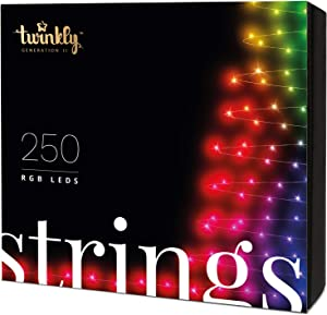 Twinkly Smart Decorations Custom LED String Lights – App Controlled Light Strings with 250 multicolor RGB LED Lights – IoT Ready Customizable Lighting – Create or Download Light Displays