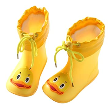 Sikye Kids Waterproof Sneaker Cartoon Duck Rubber Rain Boot Warm Shoe Velvet for Toddler Boys Girls Yellow 2, 3-3.5T