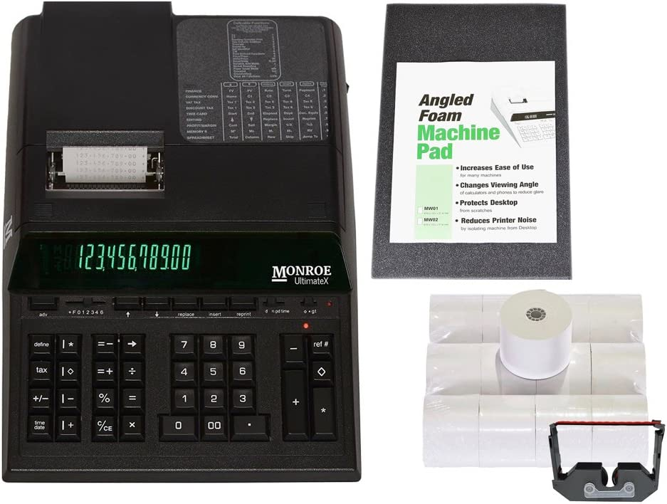 Top of The Line Monroe UltimateX Heavy Duty 12-Digit Print/Display Printing Calculator (Calculator with Ribbons, Paper and Foam Wedge, Black)