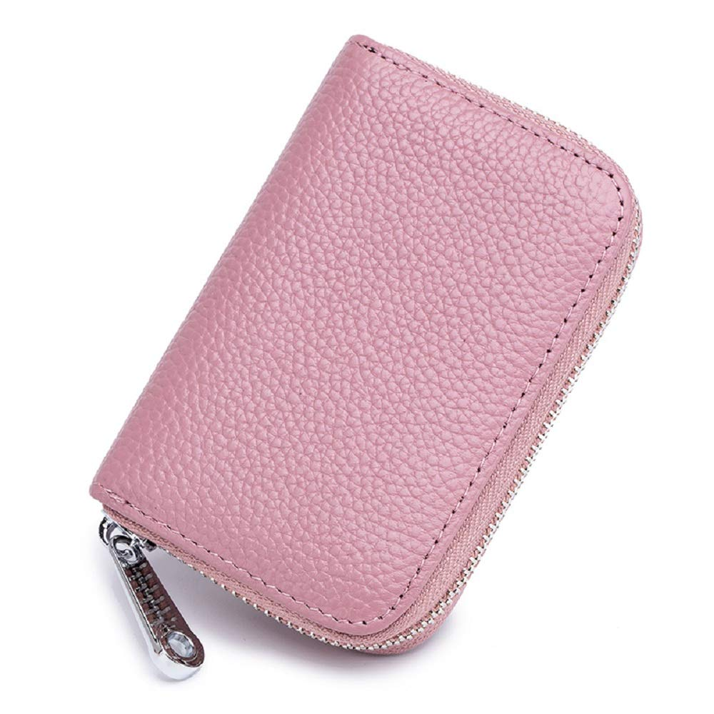 Leather Credit Card Wallet RFID Card Holder Case for Women Zipper Wallet Small Purse (Black)