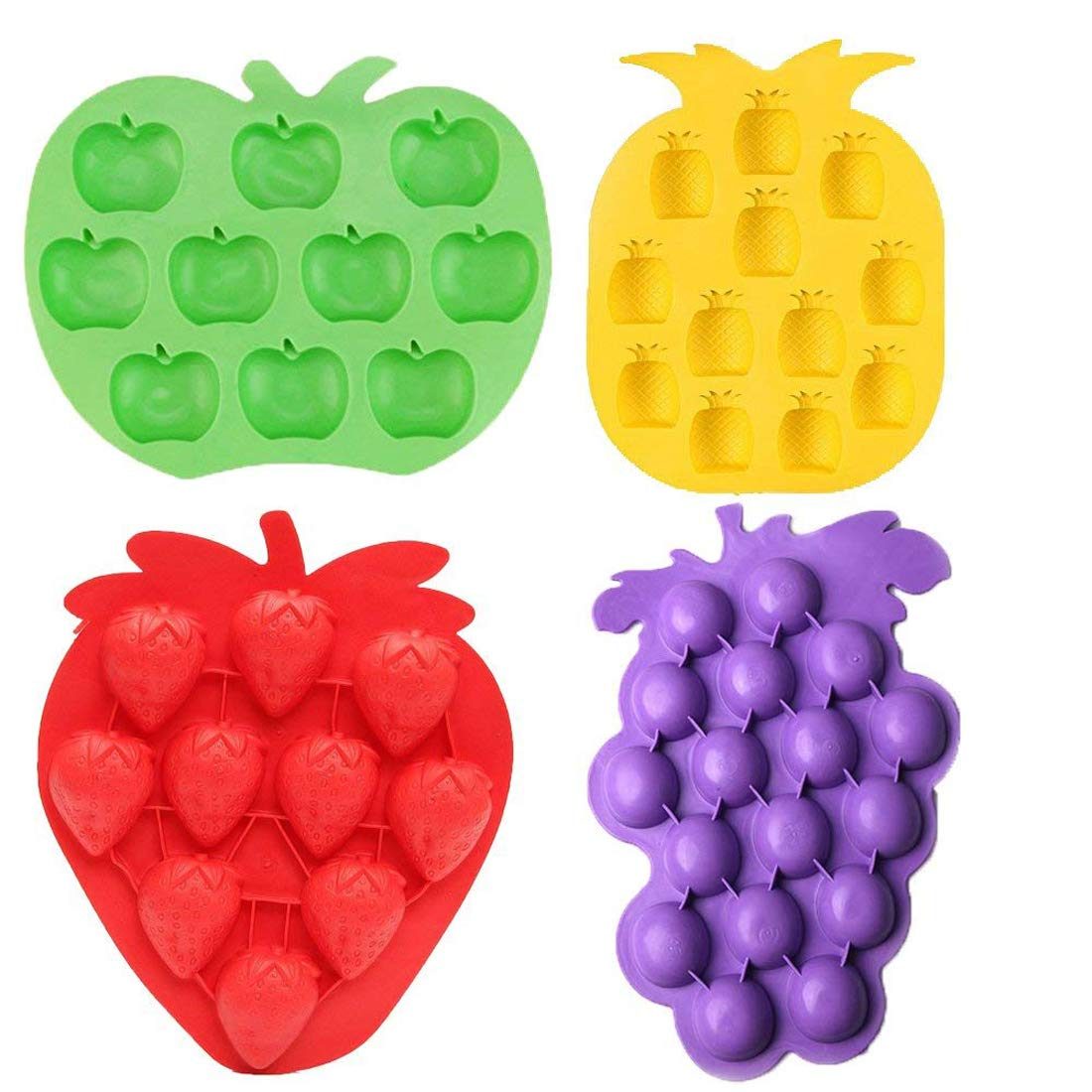 LQQDD Fruits Series Silicone Fondant Mold Candy Mold Strawberries Pineapples Apples Grapes Mold for Sugarcraft Cake Decoration Candy Mold Cupcake Topper Summer Ice Cube Tray (Set of 4)