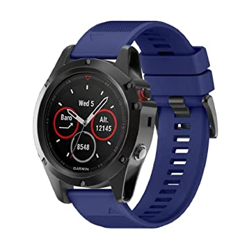Correa de reloj inteligente Wawer Garmin Fenix 5X GPS, 26 mm de ancho, de instalación rápida, color azul oscuro: Amazon.es: Deportes y aire libre