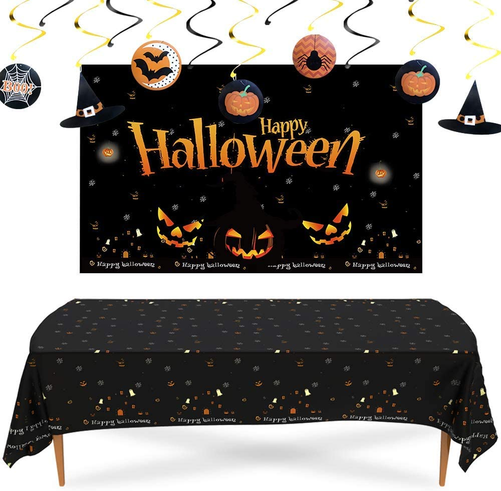 Vadeture Halloween Decorations,Halloween Backdrops Halloween Tablecloth and Halloween Hanging Swirls for Halloween Party Bar Home Decor Supplies,Halloween Party Decorations Kit