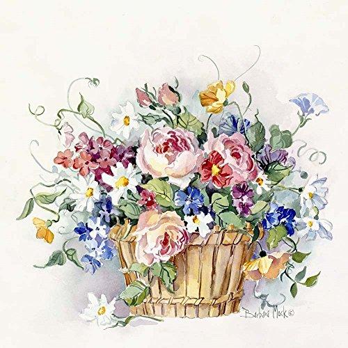 Rose Basket by Barbara Mock Art Print, 18 x 18 inches