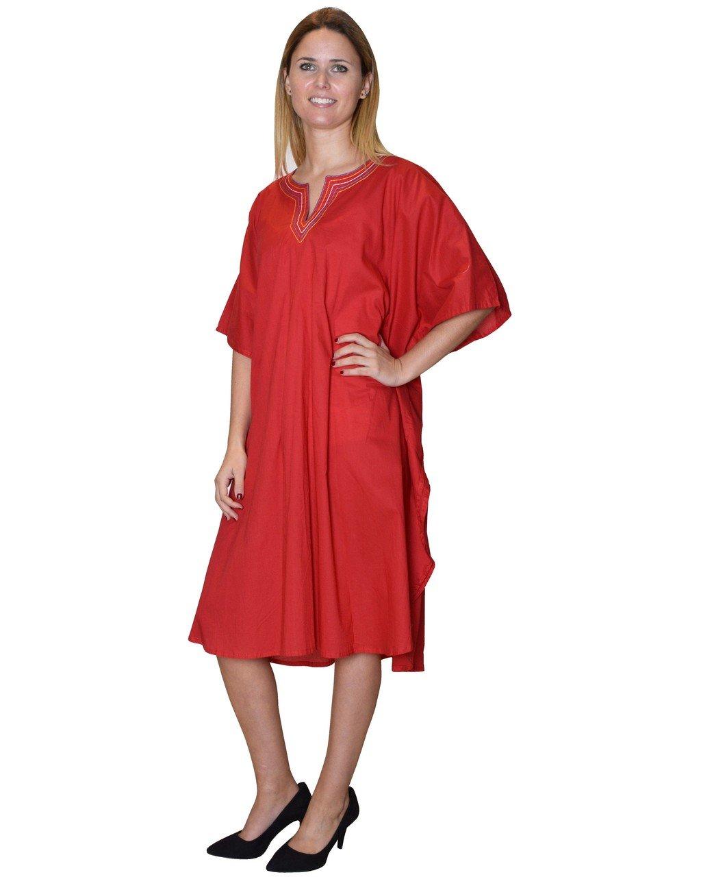 Bayside Barcelona Vestido de Maternidad de Kaftan Rojo Playa Bordado a Mano Sólido Talla G: Amazon.es: Electrónica