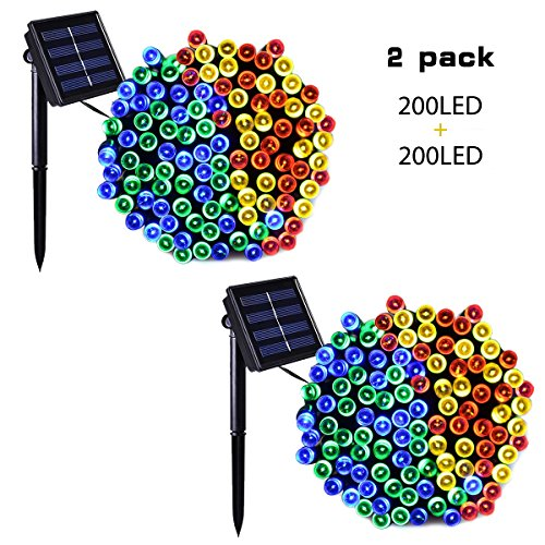 Binval Solar String Lights Multicolor for Outdoor,Patio,Lawn,Landscape,Fairy Garden,Home,Wedding,Holiday,Christmas Party and Xmas Tree Decorations[72feet-200LED-Multi-Color] 2-pack (Ideas Backyard Party Wedding)