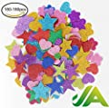 150-180 pieces Foam Glitter Stickers, Star Mini Heart Flower Assorted Shapes Self Adhesive Foam Stickers for Arts and Crafts Decorative