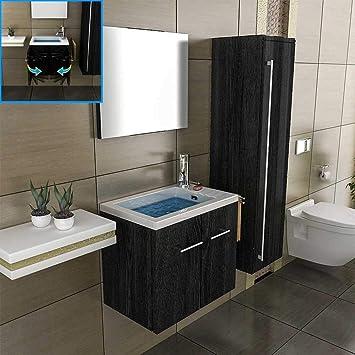 Bad1a Badezimmer Möbel 50 Cm Breit Waschbecken Rechteckig Design Spiegel  Unterschrank Wandhängend Bad