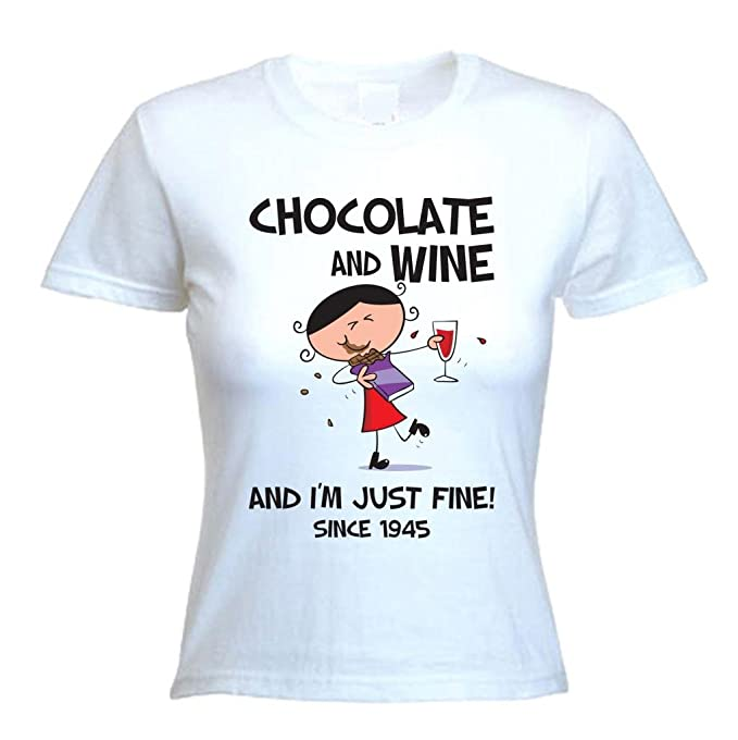 Chocolate Wine Since 1945 Womens 70th Birthday T Shirt Small Dress Size