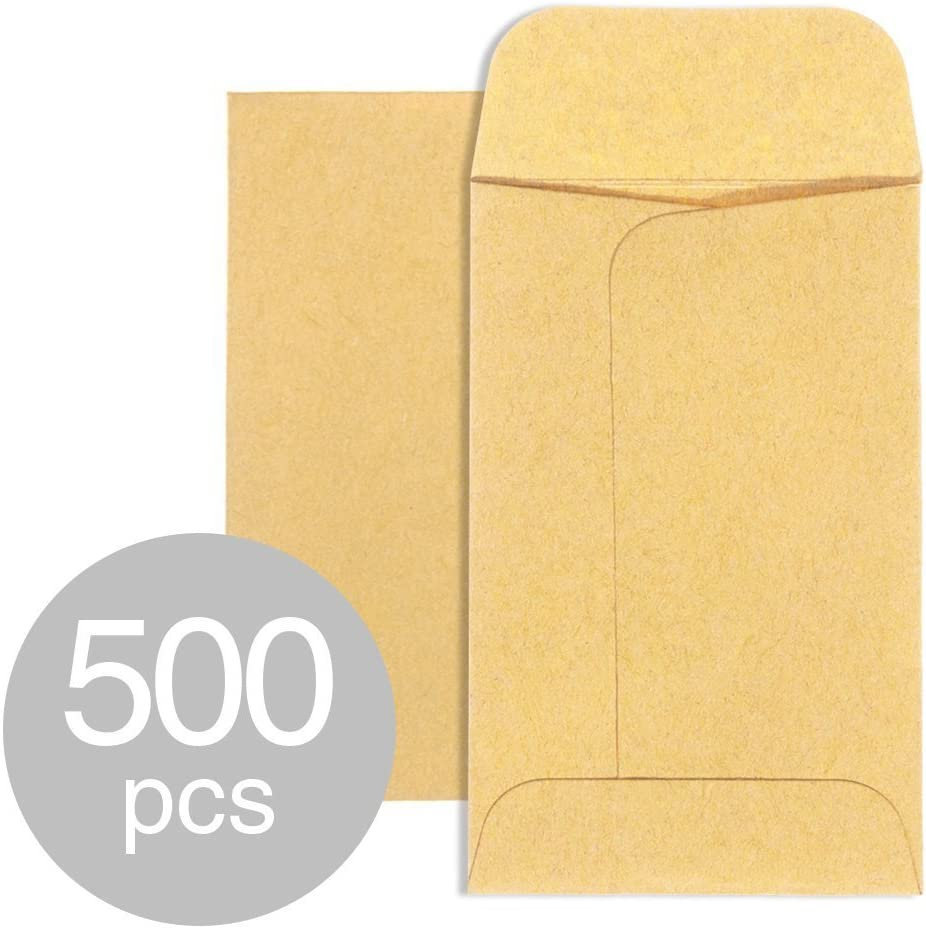 Acko #1 Coin and Small Parts Envelopes 2-1/4 x 3-1/2 Brown Kraft Envelopes with Gummed Flap for Home Office Garden 500pcs