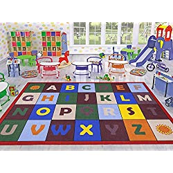 "Ottomanson Jenny Collection Red Frame with Multi Colors Children's Educational Alphabet Design (Non-Slip) Kids Area Rug, 3'3"" X 4'7"", Multicolor"