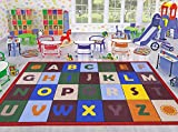 Ottomanson Jenny Collection Red Frame with Multi Colors Kids Children's Educational Alphabet Design (Non-Slip) Area Rug, 8'2 X 9'10, Multicolor