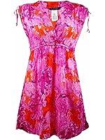 Lauren Ralph Lauren Womens Crinkled Printed Casual Dress Pink L