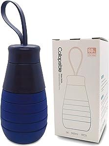 Atashojoe Collapsible Bottle – Premium Silicone Food Grade | Reusable & Leakproof Travel Water Bottle for Indoor Outdoor Sport Gym Camping Hiking Yoga Kids, 16.9floz / 500ml (Deep Sea Blue)