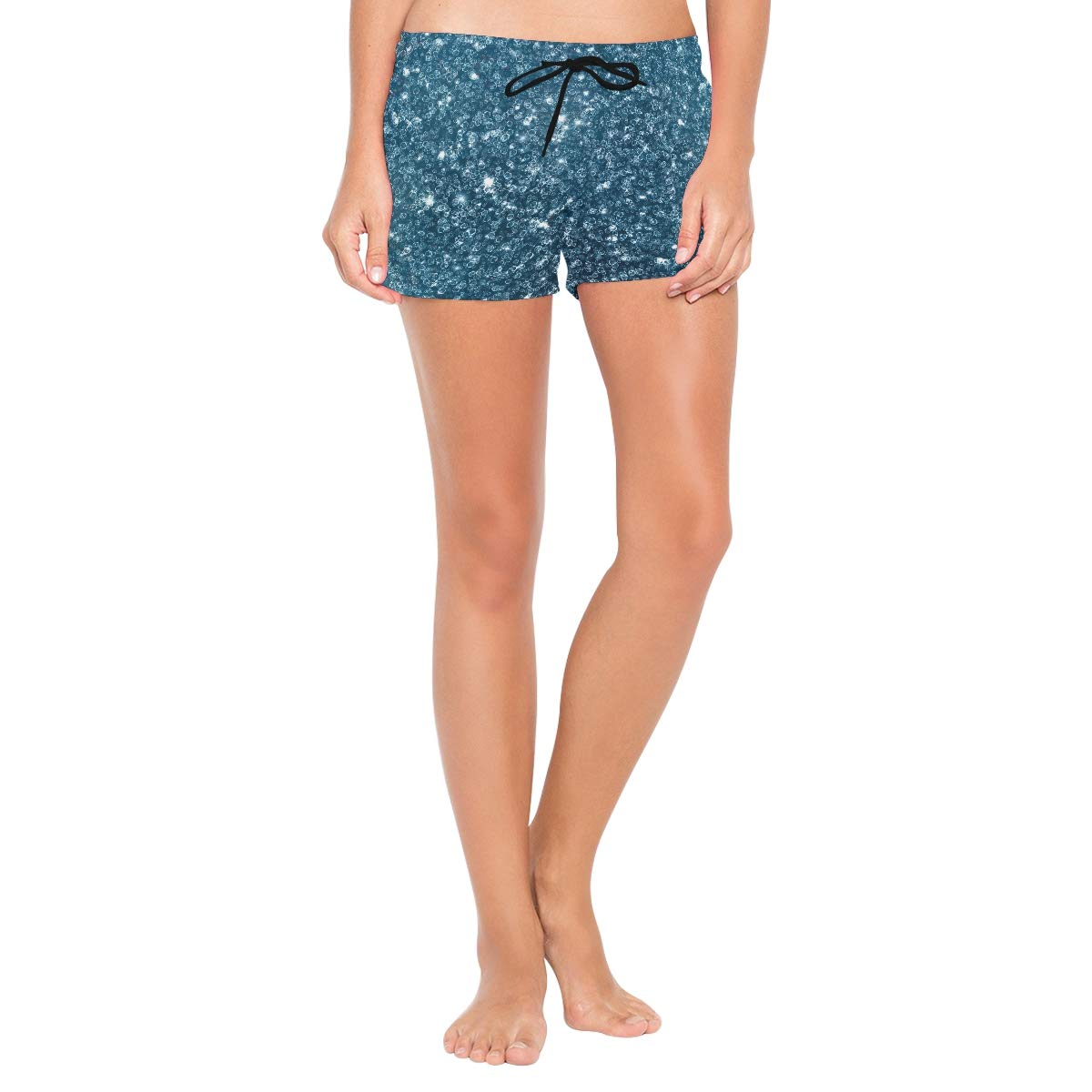 Blue Glitter Diamond Texture Womens Board Shorts with Pockets Quick Dry Drawstring Beach Swim Trunks S L
