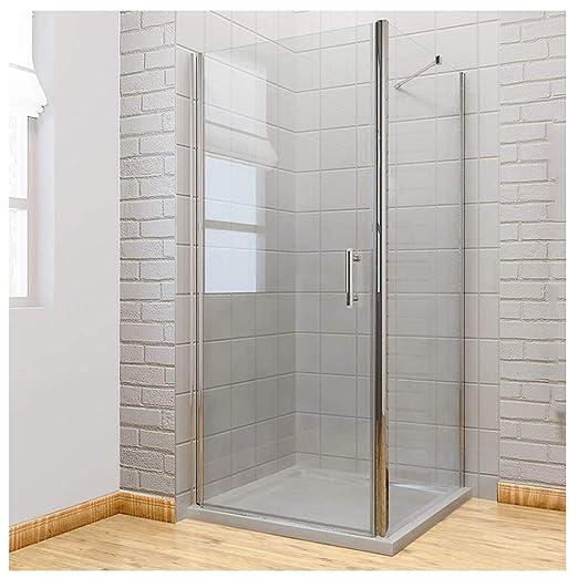 Sin Marco Pivot para mampara de ducha almacenaje 6 mm cristal de seguridad reversible de ducha cubículo puerta + Panel lateral, 760mm door + 700mm side panel: Amazon.es: Hogar
