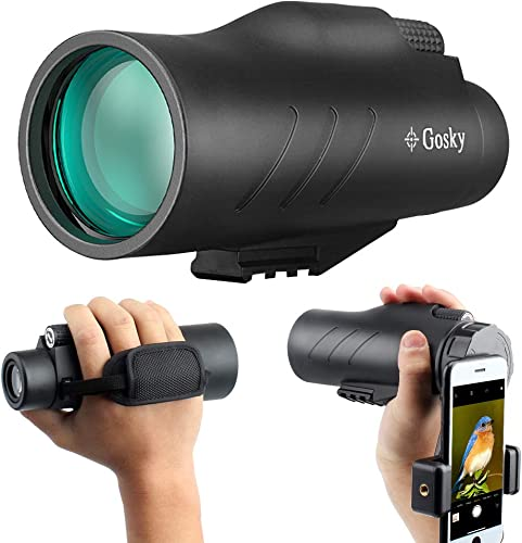 10×50 HD Monocular with Scope Mounting Base Rifle Rail- Gosky New Waterproof Distantance Measuring Monocular with Crosshair and Smartphone Holder for Hunting Survival Wildlife Bird Watching Secenery
