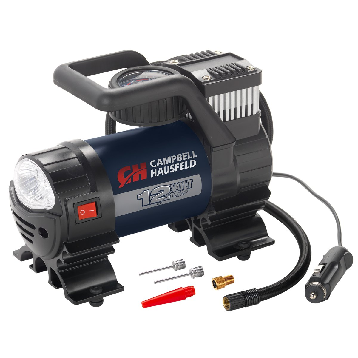 Mighty Portable Inflator Campbell Hausfeld AF010400 12V Pump with Safety Light /& Accessories 150 PSI Air Compressor