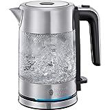 Russell Hobbs Mini-Glas-Wasserkocher Compact, 0,8l, 2200W, LED Beleuchtung, Kalkfilter, optimierte Ausgusstülle, platzsparend, kleiner Reisewasserkocher, kompakter Teekocher 24191-70