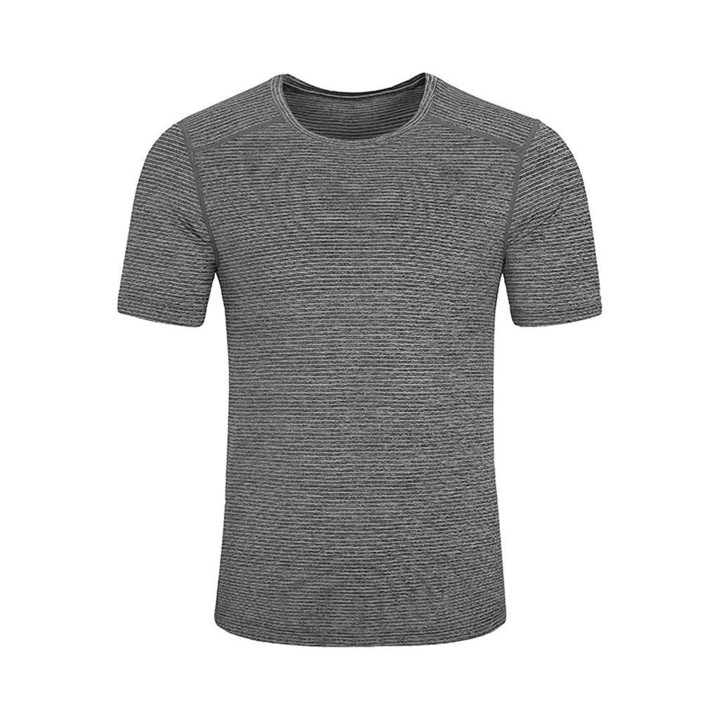 SANGQU Mens Sport T-Shirt Short Sleeve Compression Fast Dry Breathable Top Tee