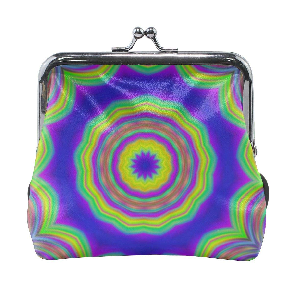 Yunshm Abstract Art Background Colorful Kaleidoscope Customized Leather Classic Floral Coin Purse Clutch Pouch Wallet For Womens