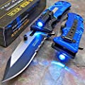 Tac-Force Blue Police Assisted Open LED Tactical Rescue Pocket Knife from Bacchus99
