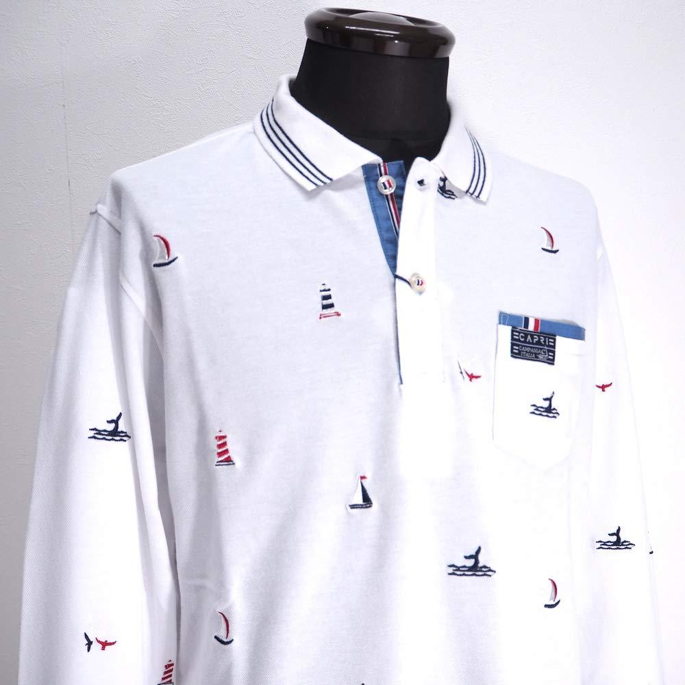 50271 CAPRI カプリ ストレッチ 鹿の子ポロシャツ 長袖 ホワイト 46(M) サイズ メンズ カジュアル 男性 春夏 ゴルフ 通販   B07NSMSWD3