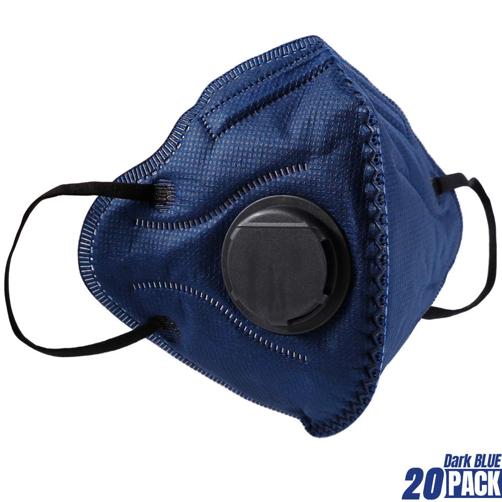 BC N95 Particulate Respirator Mask 20 Pack Disposable Dust Mask with Exhalation Valve for Construction Cleaning Air Pollen Allergy Woodworking Gardening Sanding Painting by BASE CAMP