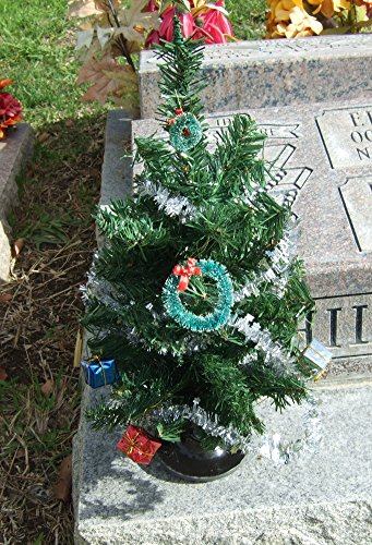 christmas tree for cemetery ground vase