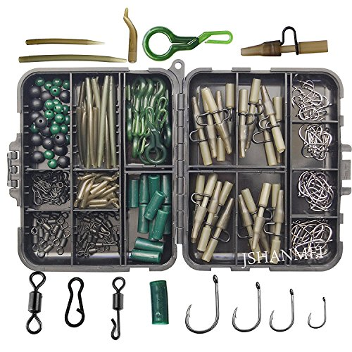 JSHANMEI Carp Fishing Tackle Kit Box Lead Clips/Beads/Hooks/Tubes/Swivels Baiting Terminal Rigs Carp Tackle Box 160pcs