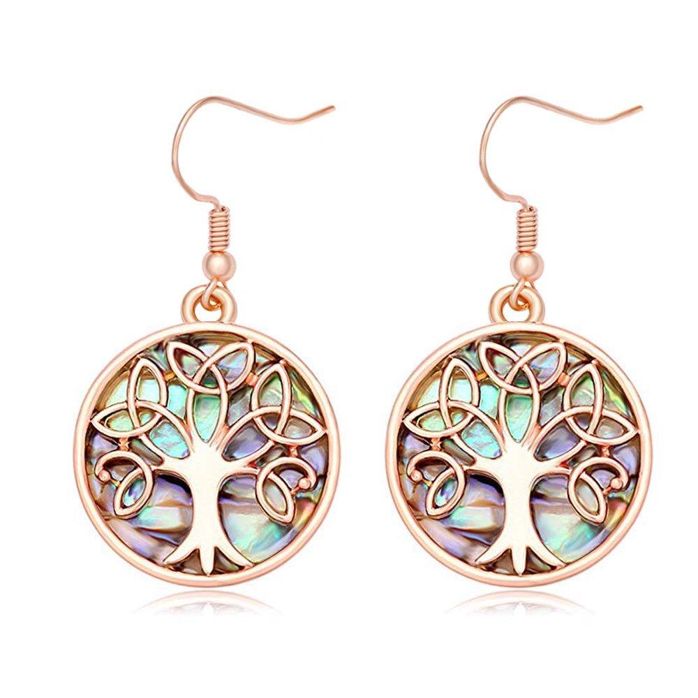 MANZHEN Nature Abalone Paua Shell Tree Charm Dangle Earrings (rose gold 2)