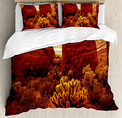 Ambesonne Saguaro Duvet Cover Set, Dramatic Desert Scenery Like Burnt by Sun Near Scottsdale Hot Rocks Serene Western Image, Decorative 3 Piece Bedding Set with 2 Pillow Shams, Queen Size, Red (Scottsdale Queen Comforter)