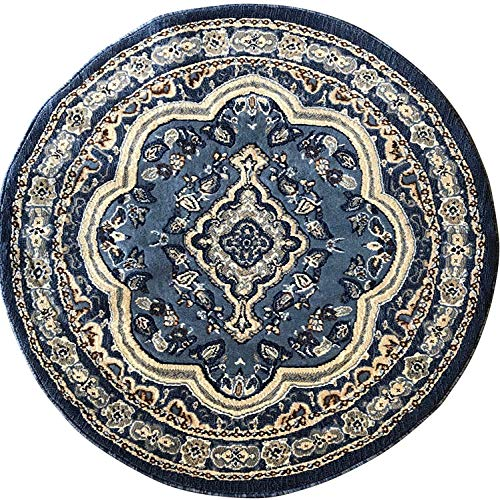emirates Traditional Round Oriental Rug Blue Persian Design 520 (5 Feet 3 Inch X 5 Feet 3 Inch)