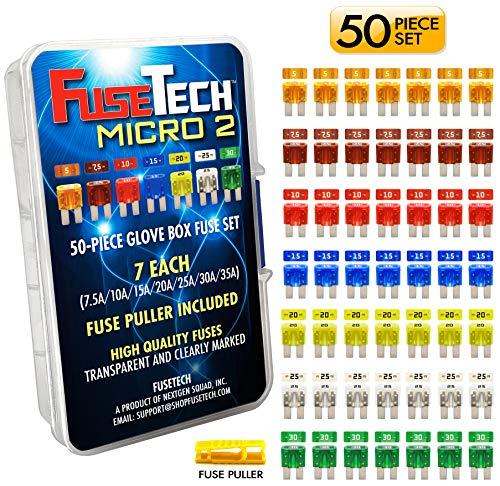 FuseTech Micro2 50 Piece Automotive Fuse Assortment Glove Box Set (49 Blade Fuses + Fuse Puller) 5A 7.5A 10A 15A 20A 25A 30A
