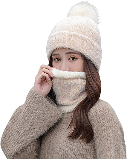 MFAZ Morefaz Ltd Set M/ütze /& Schal Flechte Damen Winter Beanie Wurm Strickm/ütze Mohair Wolle Fleece Bommel Pom Pom